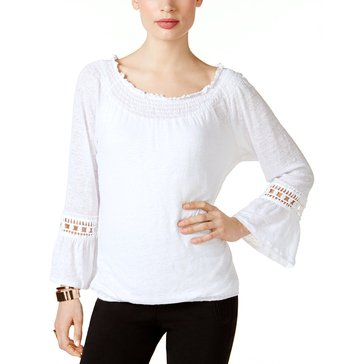 INC International Concepts Crochet Trim Peasant in Bright White
