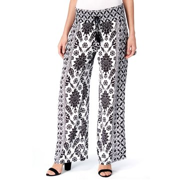 INC International Concepts Crinkle Gauze Print Pants in French Woods