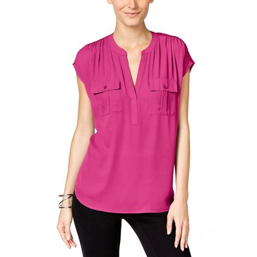 I.N.C.  International Concepts Women's  Half Placket Woven Dolman Top