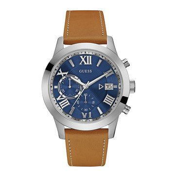 Guess Men's Atlas Chronograph Blue/Camel Leather Strap Watch, 45mm