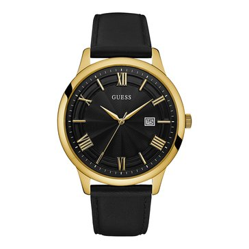 Guess Men's Carnage Polished Gold Tone/Black Leather Strap Watch, 46mm