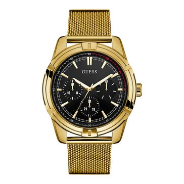 Guess Quantum Men's Poloshed Goldtone Steel Case Mesh Strap Watch 45.5mm
