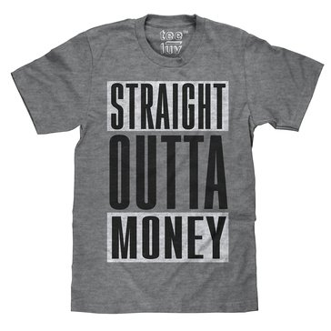 Trau & Loevner Men's Straight Outta Money Short Sleeve Tee - Charcoal