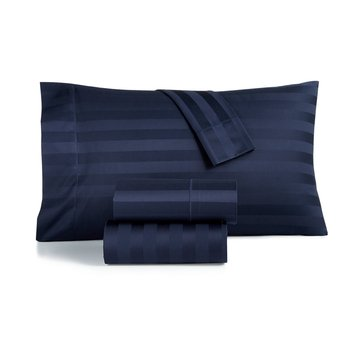 Charter Club 550 Thread-Count Damask Stripe Pillowcase, Navy - King