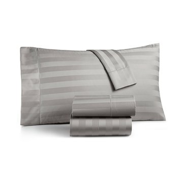 Charter Club 550 Thread-Count Damask Stripe Sheet Set, Smoke - Queen