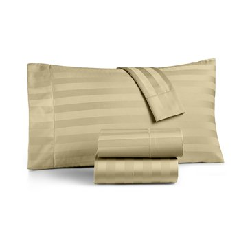 Charter Club 550 Thread-Count Damask Stripe Sheet Set, Taupe - King