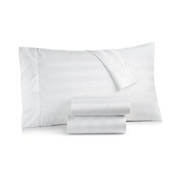 Charter Club 550 Thread-Count Damask Stripe Sheet Set, White - Queen