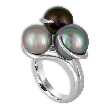 Majorica Silver White And Grey Tahitian Simulated 9-12mm Pearl Ring