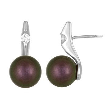 Majorica 10mm Tahitian Round Simulated Pearl With Cubic Zirconia Earrings