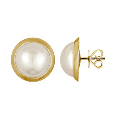Majorica 8mm White Mabe Pearl Earrings