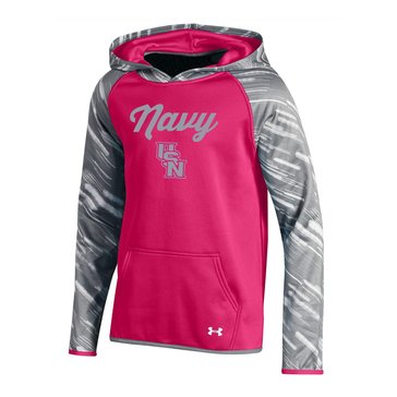 Under Armour Navy Script Girls Printed Hoodie