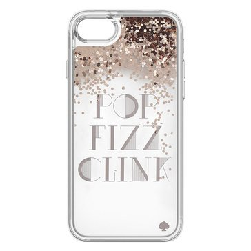 Kate Spade New York Liquid Glitter Case For iPhone 7 Pop Fizz Clink Rose Gold Clear