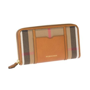 Burberry Large Ziggy Ziparound Wallet In Check And Brown Ochre Leather