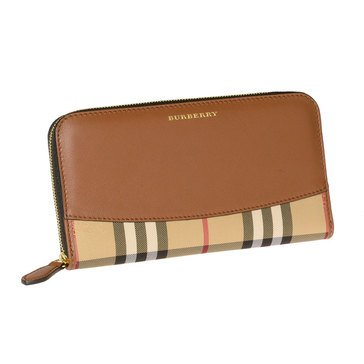 Burberry Horseferry Check And Leather Ziparound Wallet In Tan