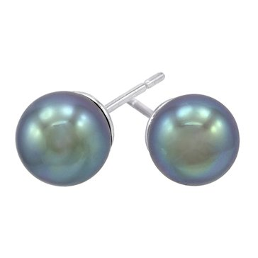 Majorica 12mm Simulated Grey Round Pearl Stud Earrings