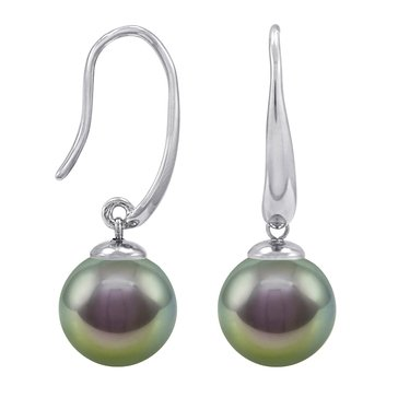 Majorica 10mm Simulated Grey Round Pearl French Wire Earrings