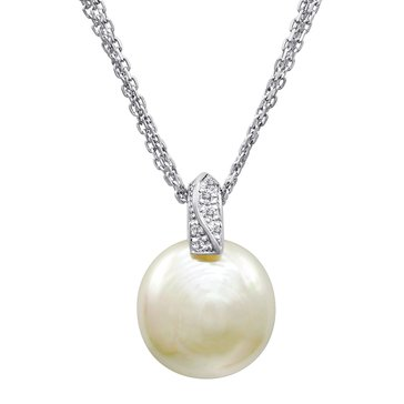 Majorica 15mm Simulated White Coin Mabe Pearl And Cubic Zirconia Pendant