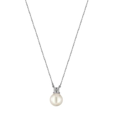 Majorica 12mm Simulated White Round Pearl And Cubic Zirconia Accent Pendant