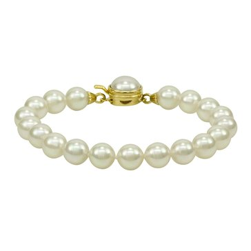 Majorica 8mm Simulated White Round Pearl Bracelet