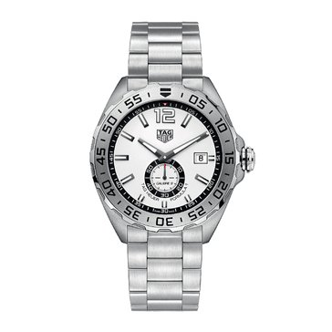Tag Heuer Men's Formula 1 Calibre 6 Automatic White/Fine Brushed Steel Chronograph Watch, 43mm