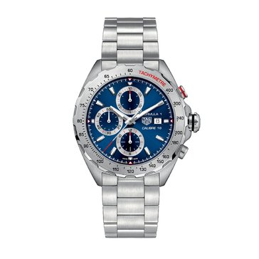 Tag Heuer Men's Formula 1 Calibre 16 Automatic Blue Sunray/Brushed Stainless Steel Chronograph Watch, 44mm