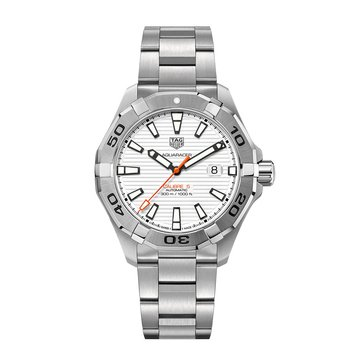 Tag Heuer Men's Aquaracer Calibre 5 Automatic White/Fine Brushed Stainless Steel Watch, 43mm