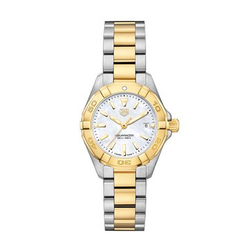 Tag Heuer Women's Aquaracer White Mother of Pearl/18K Gold Plated and Fine Brushed Steel Watch, 27mm