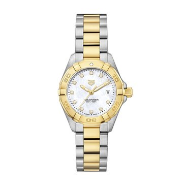 Tag Heuer Women's Aquaracer .07 Cttw White Mother of Pearl/18K Gold Plated and Fine Brushed Steel Diamond Watch, 27mm