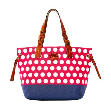Dooney & Bourke Nylon Shopper Dots Hot Pink Navy