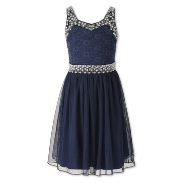 Speechless Big Girls' Social Lace & Tulle Jeweled Trim Dress