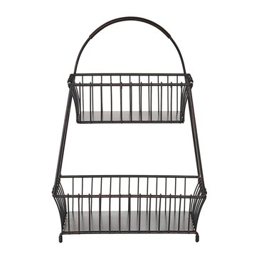 Mikasa Gourmet Basics 2-Tier Flatback Basket, Antique Black