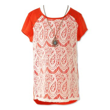 Speechless Big Girls' Lace-Front Top
