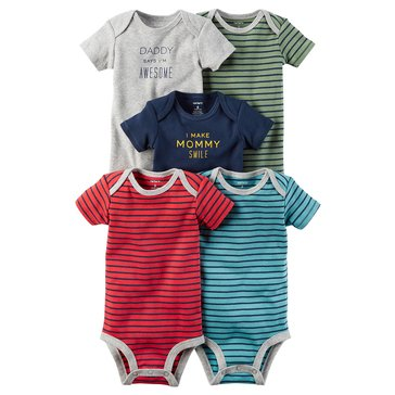 Carter's Baby Boys' 5-Pack Short Sleeve Bodysuit, Stripe