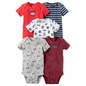 Carter's Baby Boys' 5-Pack Short Sleeve Bodysuits, Sports