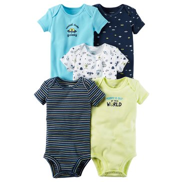 Carter's Baby Boys' 5-Pack Short Sleeve Bodysuits, Space