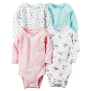 Carter's Baby Girls' 4-Pack Long Sleeve Bodysuits, Floral