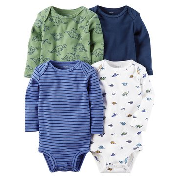 Carter's Baby Boys' 4-Pack Long Sleeve Bodysuits, Dino