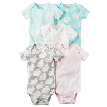 Carter's Baby Girls' 5-Pack Bodysuit Set, Elephant