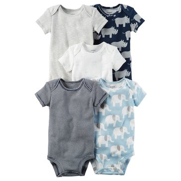 Carter's Baby Boys' 5-Pack Bodysuits, Elephant