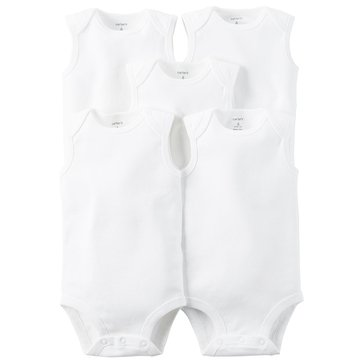 Carter's Newborn 5-Pack Long Sleeve Bodysuits, White