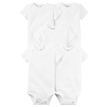 Carter's Newborn 5-Pack Short Sleeve Bodysuits, White