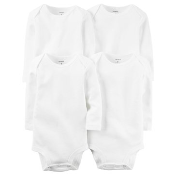 Carter's Newborn 4-Pack Long Sleeve Bodysuits, White