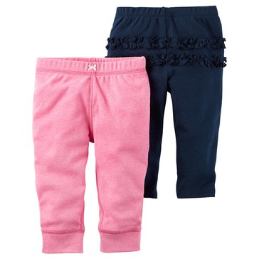 Carter's Baby Girls' 2-Pack Pants Set, Navy/Pink