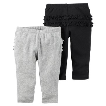 Carter's Baby Girls' 2-Pack Pants, Grey Stripe