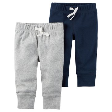 Carter's Baby Boys' 2-Pack Pants Set, Navy With Grey Stripe