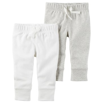 Carter's Newborn 2-Pack Pants, White/Grey