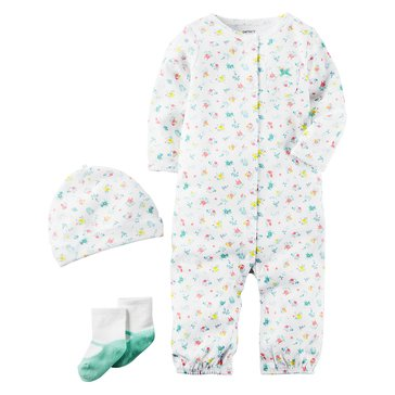 Carter's Baby Girls' 3-Piece Layette Set, Floral