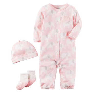 Carter's Baby Girls' 3-Piece Layette Set, Elephant