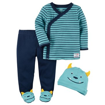 Carter's Baby Boys' 3-Piece Footed Monster Set
