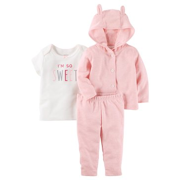 Carter's Baby Girls' 3-Piece Cardigan Set, Happy